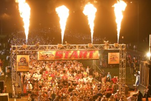 (Jan. 13, 2008):  Pyrotechnics light the sky at 6 a.m. Jan. 13, 2008 to mark the beginning of the 15th annual Walt Disney World Marathon.  A record 18,000 athletes registered for the 26.2 mile trek through all four Walt Disney World theme parks. (Matt Str