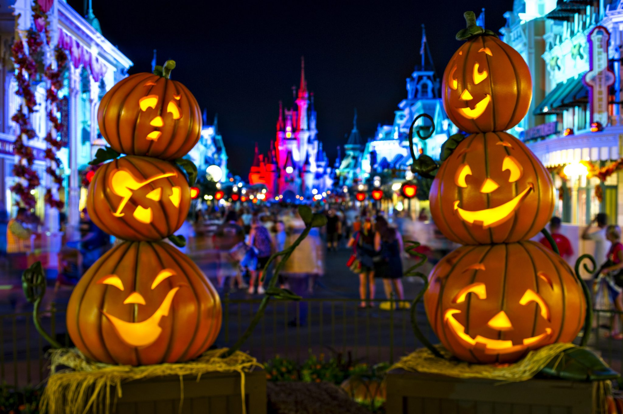 "Stacks of Jack-O-Lanterns frame Cinderella Castle on Main Street, U.S.A. in the Magic Kingdom as decorations set the stage for Mickey's Not-So-Scary Halloween Party. The family-friendly after-hours event offers trick-or-treating, meet and greets with favorite characters in costume, plus the must-see ""Mickey's Boo-to-You Halloween Parade"" and ""Happy HalloWishes"" fireworks display. Mickey's Not-So-Scary Halloween Party is a special ticket event and takes place on select nights each fall at Walt Disney World Resort in Lake Buena Vista, Fla. (Ali Nasser, photographer)"