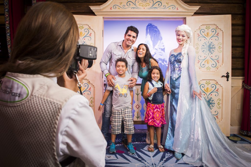 """Guests can meet Princess Anna & Queen Elsa from """"Frozen"""" inside Royal Sommerhus, their cozy cabin in the Norway Pavilion at Epcot. Here, guests can meet the royal sisters, pose for a photo, and share a warm embrace. Epcot is one of four theme parks at Walt Disney World Resort located in Lake Buena Vista, Fla. (Ryan Wendler, photographer)"""