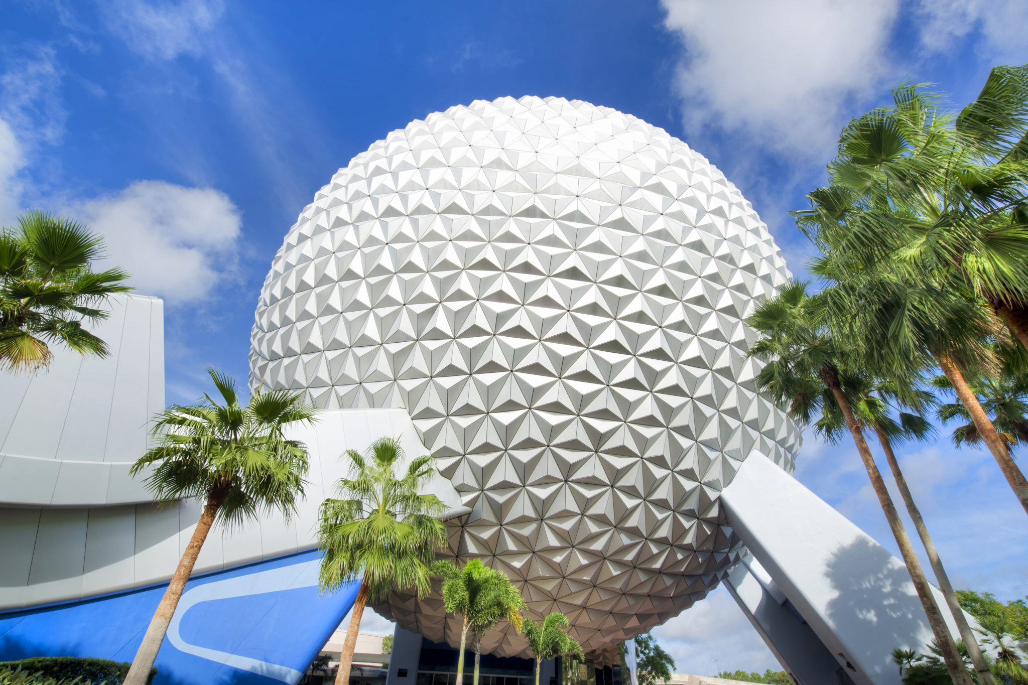 """Spaceship Earth is the visual and thematic centerpiece of Epcot at Walt Disney World Resort in Lake Buena Vista, Fla. The geodesic dome weighs 16 million pounds and the outer """"skin"""" of Spaceship Earth is made up of 11,324 aluminum and plastic-alloy triangles. The attraction inside Spaceship Earth presented by Siemens includes a time-travel adventure through the history of communication, showing how the spirit of innovation has moved people from the caves to the cosmos. (Gene Duncan, photographer)"""